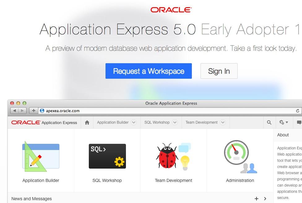 Screenshot Oracle Apex 5.0 EA1 Seite